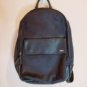 Calvin klein black backpack with pebble faux leather trim unisex